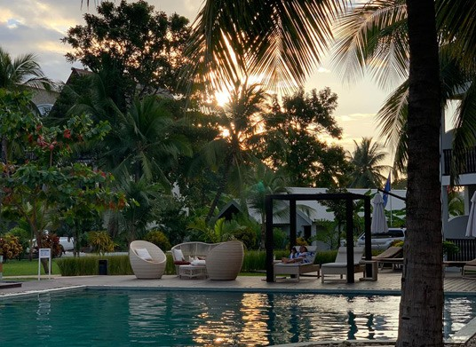 Pool sunset at Royal Beach Hotel & Spa, Madagascar